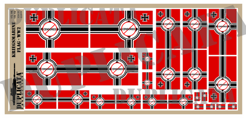 Kriegsmarine Flag - WW2 - 1/72, 1/48, 1/35, 1/32 Scales - Duplicata Productions