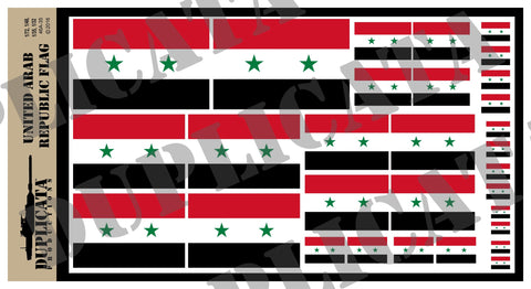 Flag of the United Arab Republic - 1/72, 1/48, 1/35, 1/32 Scales - Duplicata Productions