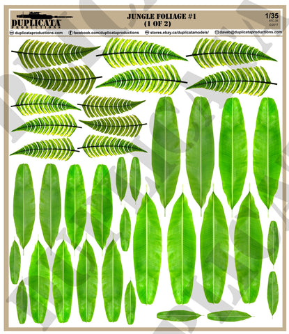 Jungle Foliage #1 - 1/35 Scale (2 sheets) - Duplicata Productions