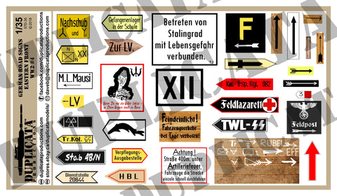 German Road Signs, Eastern Front #4 -  WW2 - 1/35 Scale - Duplicata Productions