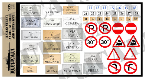Italian Street Names, Numbers & Traffic Signs - WW2 - 1/35 Scale - Duplicata Productions