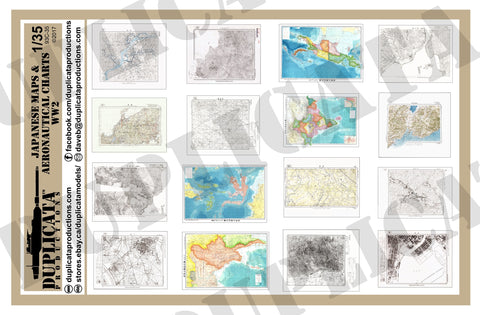 Japanese Maps & Aeronautical Charts -  WW2 - 1/35 Scale - Duplicata Productions