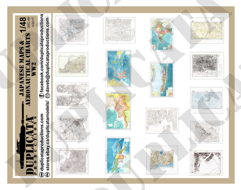Japanese Maps & Aeronautical Charts -  WW2 - 1/48 Scale - Duplicata Productions