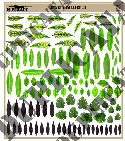 Jungle Foliage #1 - 1/72 Scale (2 sheets) - Duplicata Productions