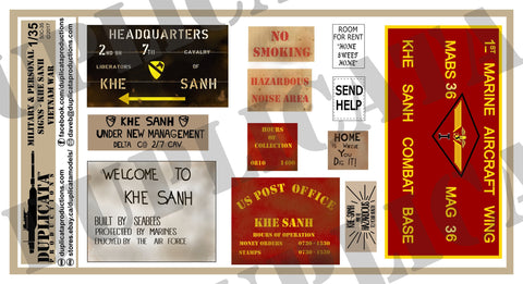 Military & Personal Signs, Khe Sanh - Vietnam War - 1/35 Scale - Duplicata Productions