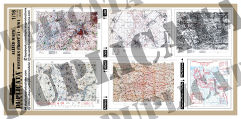 Allied Maps, Western Front #1 - WW1 - 1/16 Scale (120mm) - Duplicata Productions