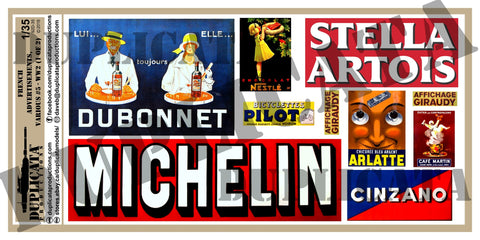 French Advertisements, Various Sizes #5 -  WW2 - 1/35 Scale (2 Sheets) - Duplicata Productions
