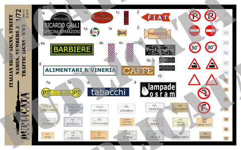 Italian Shop Signs, Street Names/Numbers & Traffic Signs - WW2 - 1/72 Scale - Duplicata Productions