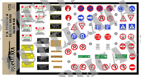 U.S. Vehicle & Traffic Signs - Iraq War - 1/72 Scale - Duplicata Productions