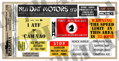 Australian Base Signs, Nui Dat - Vietnam War - 1/35 Scale - Duplicata Productions