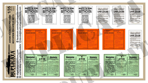 Announcement Posters - Occupied France, WW2 - 1/35 Scale (2 Sheets) - Duplicata Productions