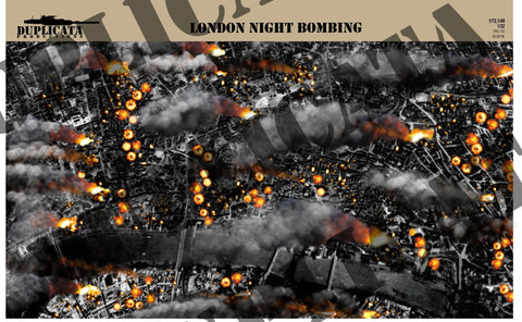 """In Flight"" Aircraft Display Base Artwork - London Night Bombing - 1/72, 1/48, 1/32 Scale - Duplicata Productions"