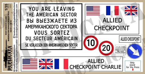 West German/Allied Berlin Wall/Border/Checkpoint Signs -1/35 Scale (3 sheets) - Duplicata Productions