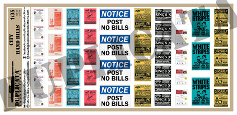 Modern City Hand Bills  - 1/35 Scale - Duplicata Productions