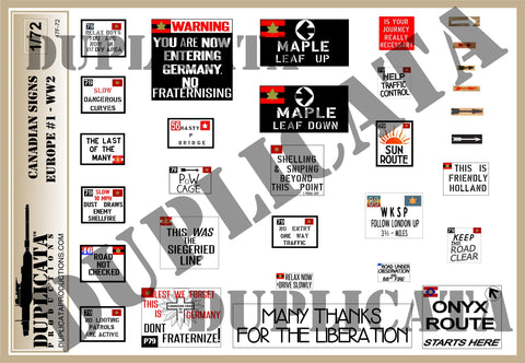 Canadian Road Signs, Europe #1 -  WW2 - 1/72 Scale - Duplicata Productions