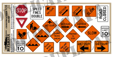Road/Highway Construction Signs - 1/35 Scale - Duplicata Productions