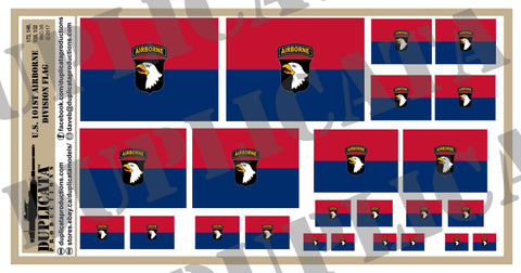 101st Airborne Division Flags (Screaming Eagles) - 1/72, 1/48, 1/35, 1/32 Scales - Duplicata Productions