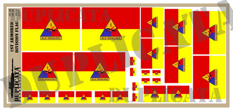 1st Armored Division Flag  - 1/72, 1/48, 1/35, 1/32 Scales - Duplicata Productions