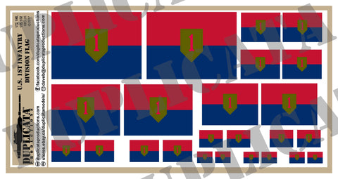 1st Infantry Division Flags (The Big Red One) - 1/72, 1/48, 1/35, 1/32 Scales - Duplicata Productions