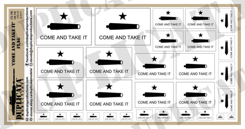 Come And Take It Flag - 1/72, 1/48, 1/35, 1/32 Scales - Duplicata Productions
