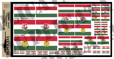 Hungarian Flags - Cold War - 1/72, 1/48, 1/35, 1/32 Scales - Duplicata Productions