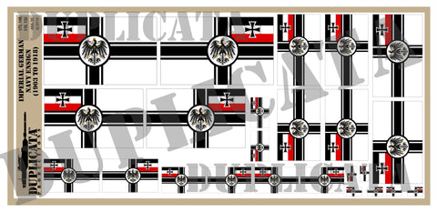 Imperial German Navy Ensign Flag (1903-1918) - 1/72, 1/48, 1/35, 1/32 Scales - Duplicata Productions