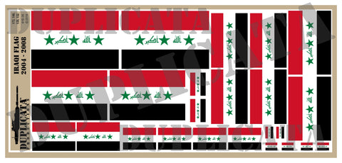 Iraqi Flag (2004 to 2008) - 1/72, 1/48, 1/35, 1/32 Scales - Duplicata Productions