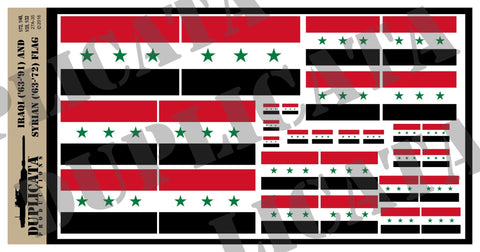 Iraqi (1963-1991) & Syrian (1963-1972) Flag - 1/72, 1/48, 1/35, 1/32 Scales - Duplicata Productions