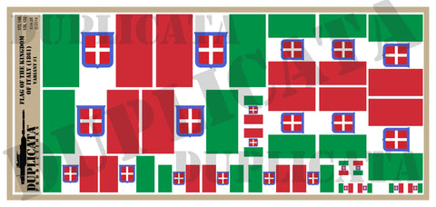 Kingdom of Italy Flag, Variant #1 - 1/72, 1/48, 1/35, 1/32 Scales - Duplicata Productions