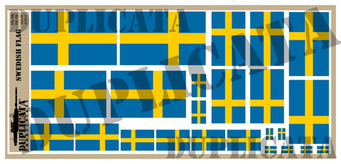 Swedish Flag - 1/72, 1/48, 1/35, 1/32 Scales - Duplicata Productions