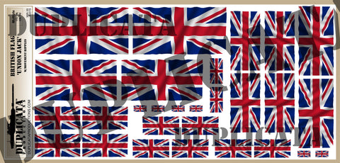 British Flag 'Union Jack' - 1/72, 1/48, 1/35, 1/32 Scales (w/Motion Ripples) - Duplicata Productions
