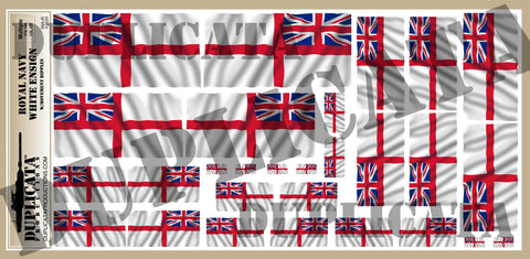 Royal Navy White Ensign - 1/72, 1/48, 1/35, 1/32 Scales (w/Motion Ripples) - Duplicata Productions
