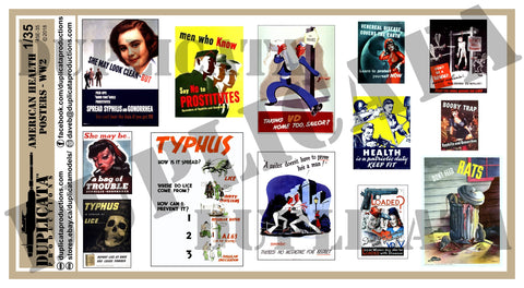 American WW2 Health Posters - 1/35 Scale - Duplicata Productions