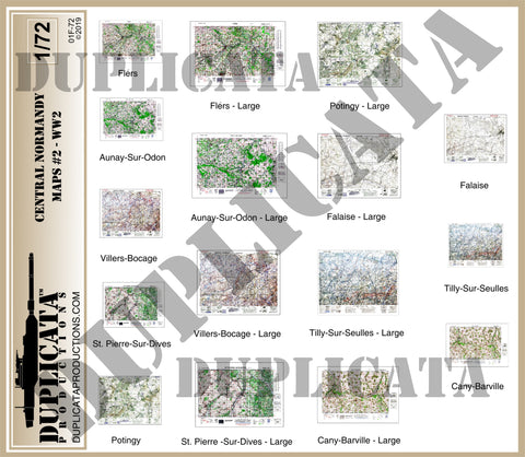Allied Maps - Central Normandy, France #2 - WW2 - 1/72 Scale - Duplicata Productions