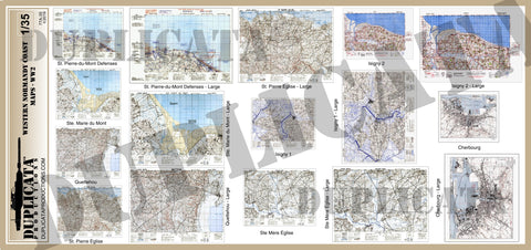 Allied Maps - Western Normandy Coast, France - WW2 - 1/35 Scale - Duplicata Productions