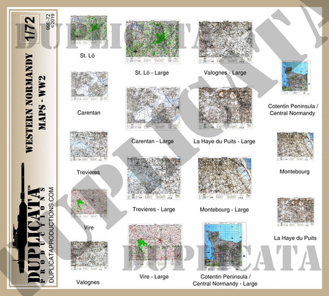 Allied Maps, Western Normandy, France - WW2 - 1/72 Scale - Duplicata Productions