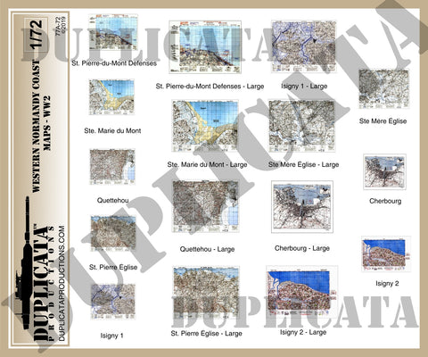 Allied Maps, Western Normandy Coast, France - WW2 - 1/72 Scale - Duplicata Productions