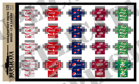 Soda / Pop / Soft Drink 12 & 24 Can Boxes - 1/35 Scale - Duplicata Productions