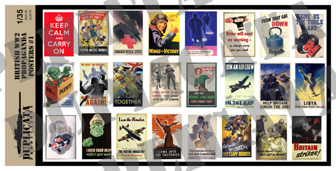 British WW2 Propaganda Posters #1 - 1/35 Scale - Duplicata Productions