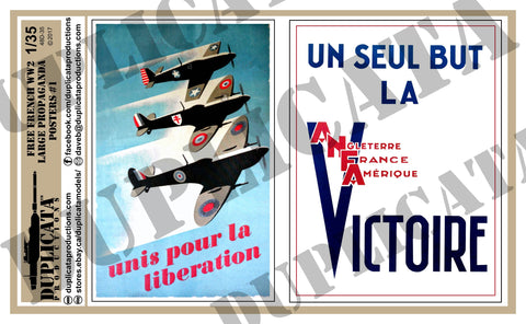 Free French WW2 Propaganda Posters, Large #1- 1/35 Scale - Duplicata Productions