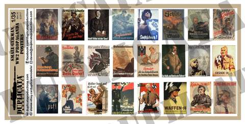 German WW2 Propaganda Posters, Small - 1/35 Scale - Duplicata Productions
