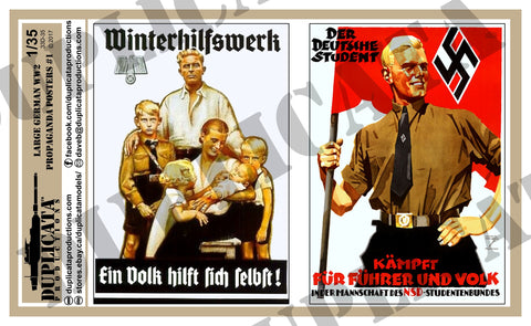 German WW2 Propaganda Posters, Large #1 - 1/35 Scale - Duplicata Productions