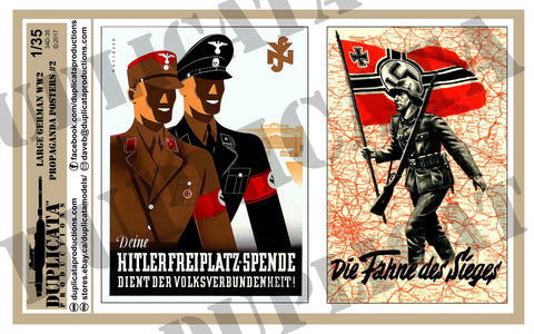 German WW2 Propaganda Posters, Large #2 - 1/35 Scale - Duplicata Productions