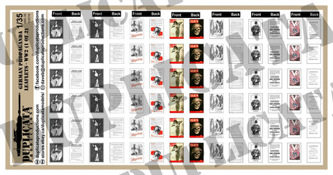 German WW2 Propaganda Leaflets - 1/35 Scale (2 Sheets) - Duplicata Productions
