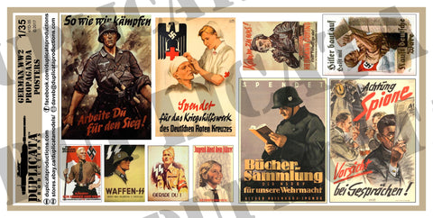 German WW2 Propaganda Posters, Various Sizes - 1/35 Scale - Duplicata Productions