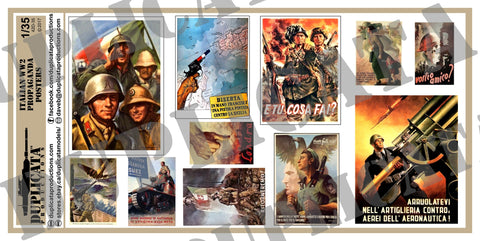 Italian WW2 Propaganda Posters, Various Sizes - 1/35 Scale - Duplicata Productions