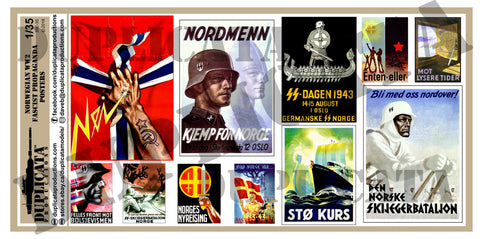 Fascist Norway WW2 Propaganda Posters - 1/35 Scale - Duplicata Productions