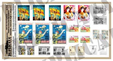 South Vietnamese Propaganda/Recruitment Posters - Vietnam War - 1/35 Scale (2 Sheets) - Duplicata Productions