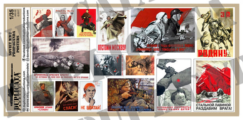 Soviet WW2 Propaganda Posters, Various Sizes - 1/35 Scale - Duplicata Productions
