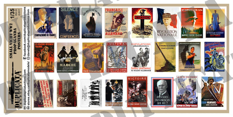 Vichy France WW2 Propaganda Posters, Small - 1/35 Scale - Duplicata Productions